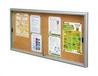 Gablota wewnętrzna Reference, tablica korkowa, drzwi przesuwne, ogłoszenia, informacje
