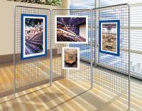 Metalowa konstrukcja ekspozycyjna, krata wystawowa, siatka ekspozycyjna, krata