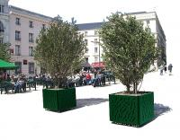 donice stalowe rzeźbione zdobione system nawadniający