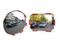 Lustra drogowe Polymir, lustra na skrzyżowaniu z biało-czerwoną cienką ramę, lustra poprawiające widoczność na słupku,