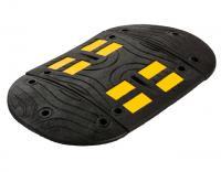 Gumowe progi zwalniające PVB, progi zwalniające podrzutowe z żółtą taśmą odblaskową, czarne gumowe progi zwalniające